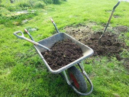 wheelbarrow full of compost